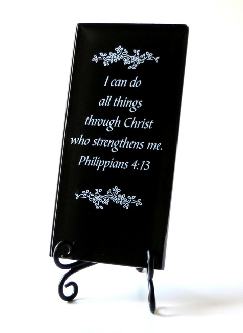 Inspirational Glass Plaque- I can do all things through Him by Lifeforce Glass, Inc.