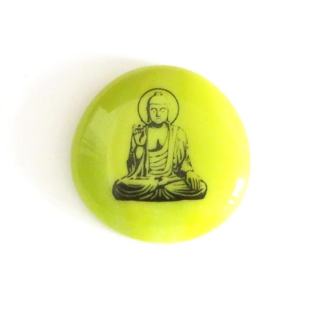 Buddha with halo, lime green