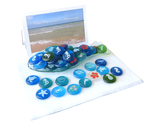Mermaid's Messages with Pictures from  Lifeforce Glass, Inc.