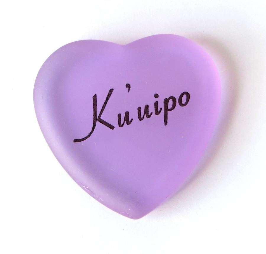 Ku'uipo heart, lilac, from Lifeforce Glass, Inc.