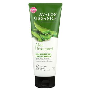 Avalon Organics Moisturizing Cream Shave Aloe Unscented - 8 fl oz