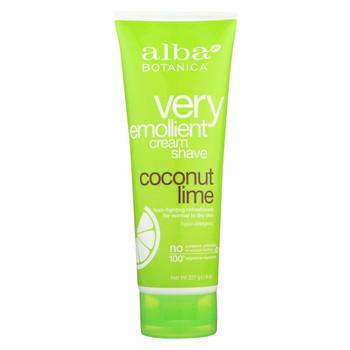 Alba Botanica Moisturizing Cream Shave For Men and Women Coconut Lime - 8 fl oz