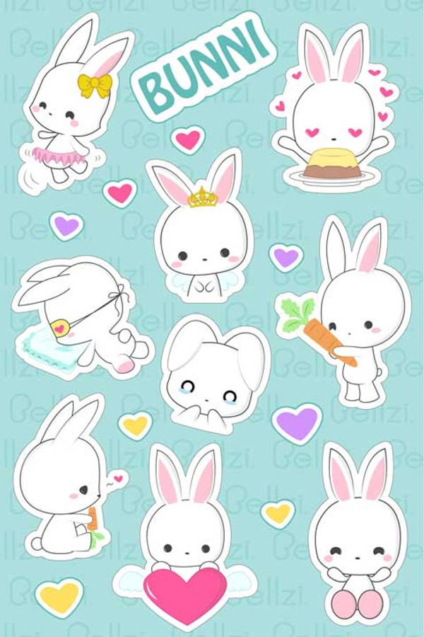 Bellzi 174 Cute Bunni The White Bunny Rabbit Vinyl Sticker
