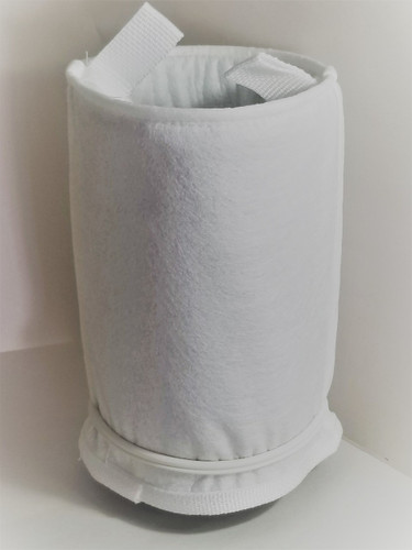 """Genuine LA Spa Filter Bags OEM (FD-51500-OEM) installed on LA Spa Filter Bag Basket 3"""" Male screw in threads with Filter O-Ring at the bottom."""