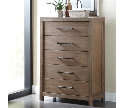 Constructed of hardwood solids and Oak veneer All drawers have dovetail joinery and ballbearing extension guides Bottom drawer has a Cedar veneer bottom, all others are felt-lined Dust panel under bottom drawer Tip restraining hardware