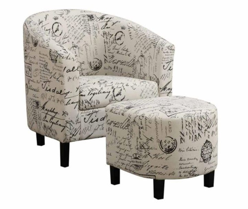 Accent Chair with Ottman in Linen-Like Fabric