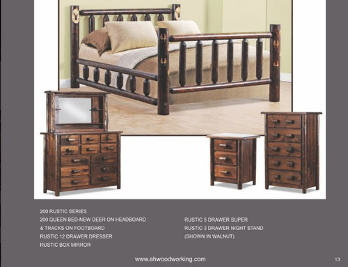 A&H Woodworking 200 Rustic Group-Deer Queen Set