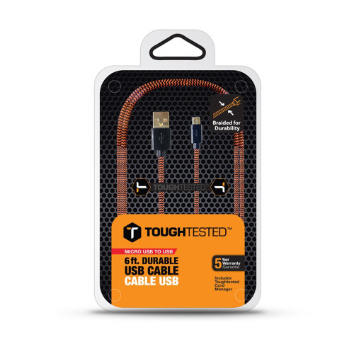 toughtested braided usb micro usb cable  6 ft orange-black