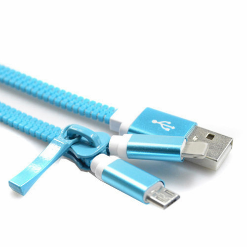 2 in 1 zipper micro usb and  lightning charge sync cable blue