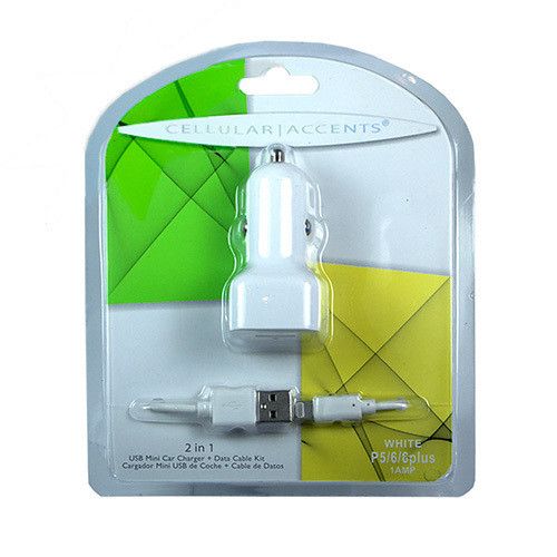 Cellular Accents 2 In 1 USB Mini Car Charger + Data Cable for iPhone 5-6-7; White