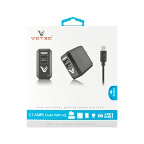 Votec IQ Dual USB 2.1 amp -usb cable micro usb black