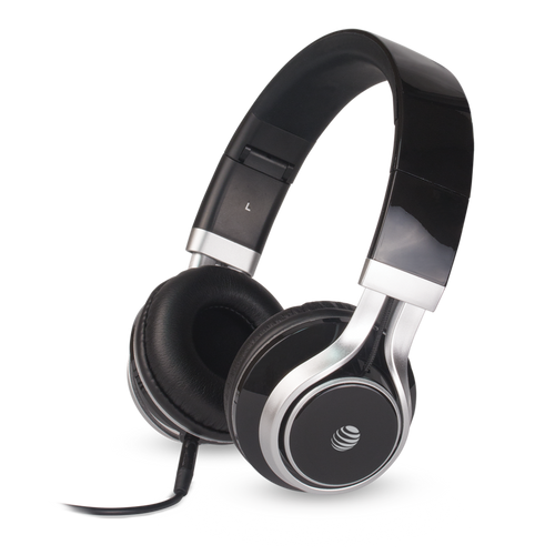 att stereo headphones with mic black