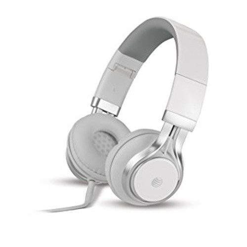 att stereo headphones with mic white