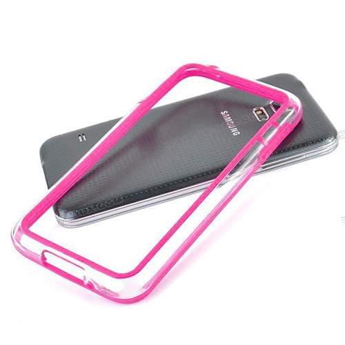 silhouette tpu bumper for iphone 5 hot pink-clear