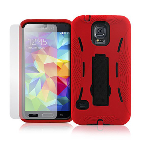 armor guard case with kickstand for iphone 6 red-black