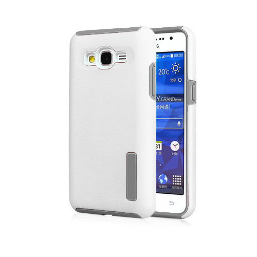 slim suit hybrid rubberized case for samsung galaxy j2 white-gray