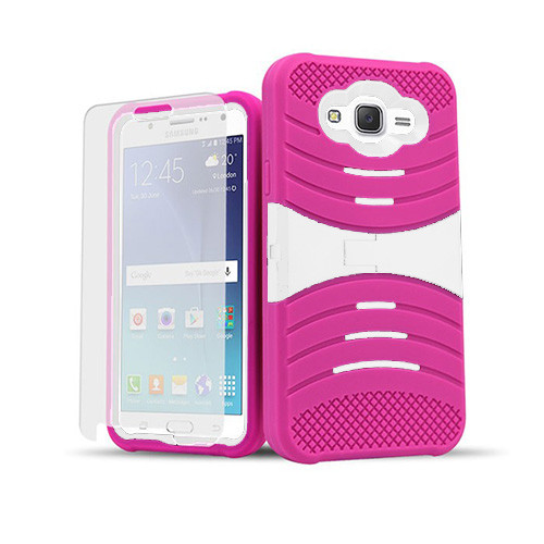 ultra rigid guard case with kickstand for samsung galaxy note 5 edge hot pink-white
