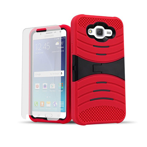 ultra rigid guard case with kickstand for samsung galaxy note 5 edge red-black
