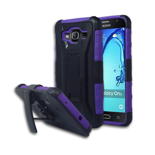 Guardian Hybrid Case with Kickstand and Holster Combo for Samsung Galaxy ON5 G550 Purple-Black