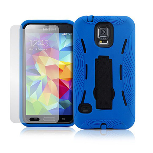 armor guard case with kickstand for samsung galaxy s4 blue-black