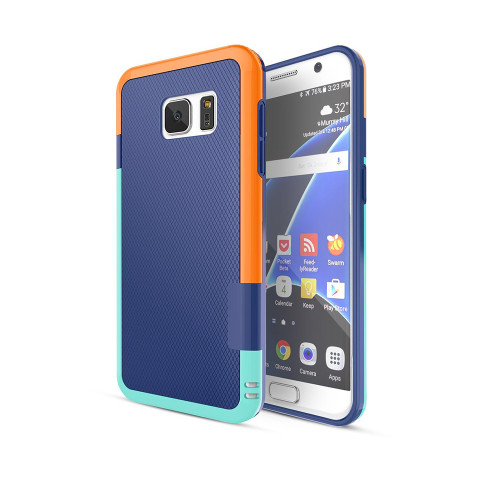 stylish tpu case for samsung galaxy s4 navy-orange-aqua
