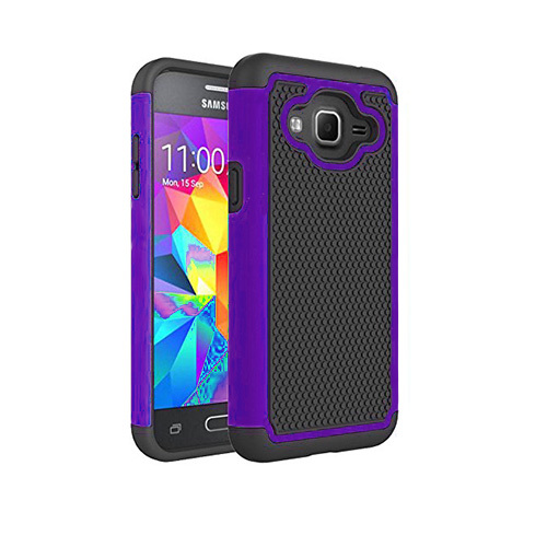 contempo hybrid case for samsung galaxy s5 mini purple-black