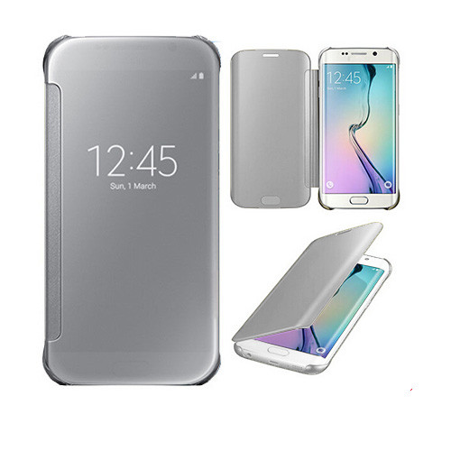 metallic s view cover case for samsung galaxy s6 edge silver