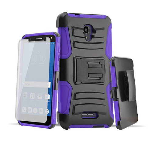 rugged hybrid case with kickstand and holster combo for samsung galaxy s7 purple-black