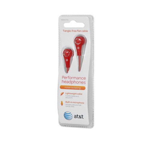 AT&T tangle free flat cable performance earphones with mic - red