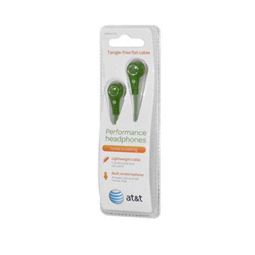 AT&T tangle free flat cable performance earphones with mic green