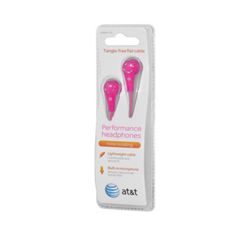 AT&T tangle free flat cable performance earphones with mic hot pink