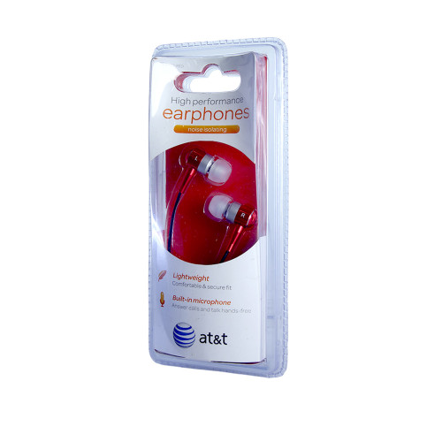 AT&T high performance noise isolating earphones with mic red