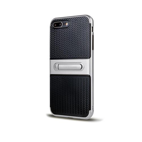 Traveler Hybrid Case with Kickstand for Samsung J7 Prime Silver