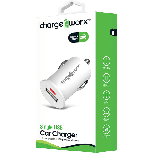 ChargeWorx Plug in adapter usb car charger single port 1.0Amp white