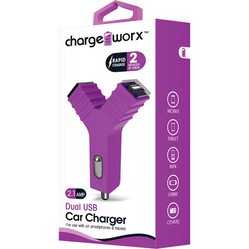 "ChargeWorx Plug in dual usb car charger ""Y"" shape 2.1A violet"