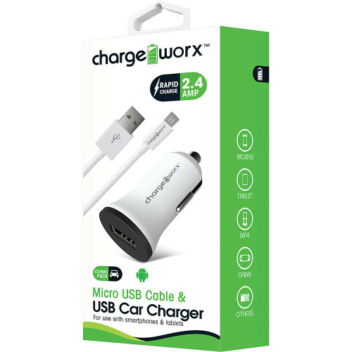 ChargeWorx Plug in usb car charger + cable micro-usb 2.4A white