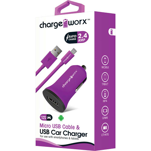 ChargeWorx Plug in usb car charger + cable micro-usb 2.4A violet