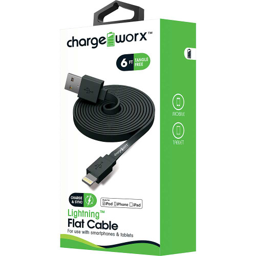 iPhone usb flat sync & charge cable lightning, 1.8M/6F black