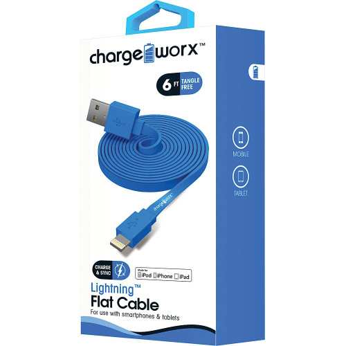 iPhone usb flat sync & charge cable lightning, 1.8M/6F blue