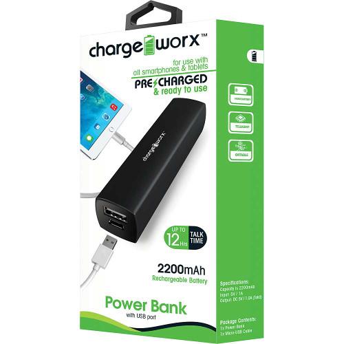 ChargeWorx Power Bank 2200 mah black