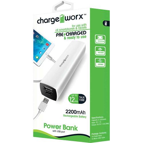 ChargeWorx Power Bank 2200 mah white