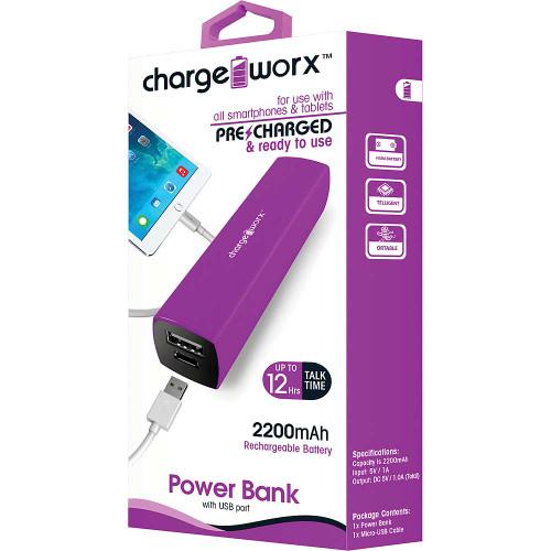 ChargeWorx Power Bank 2200 mah violet