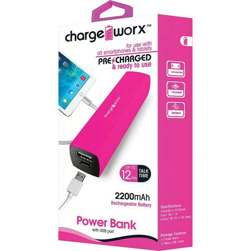 ChargeWorx Power Bank 2200 mah pink