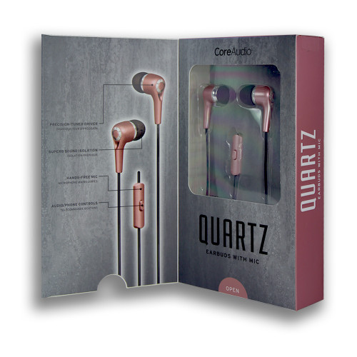 CoreAudio Quartz Earbuds with Mic Rose Gold