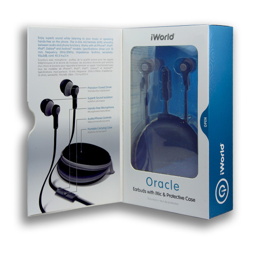 iWorld Oracle Earbuds with Mic and Protective Case Gray