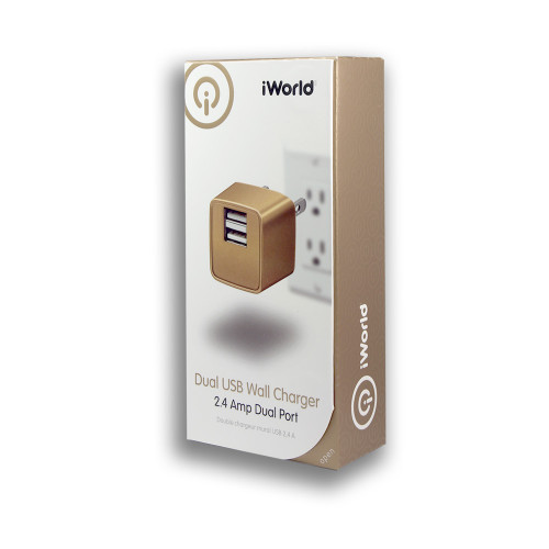iWorld Dual USB Wall Charger 2.4 Amp Dual Port Gold