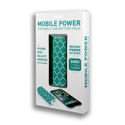 iWorld Mobile Power Portable USB Battery Pack 2600mah Tapestry Design Aqua