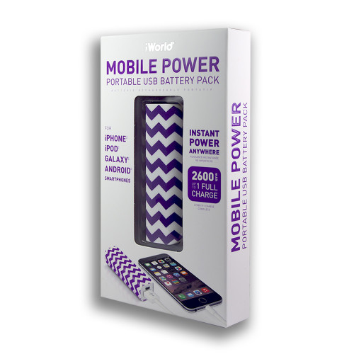 iWorld Mobile Power Portable USB Battery Pack 2600mah Wave Design Purple and White