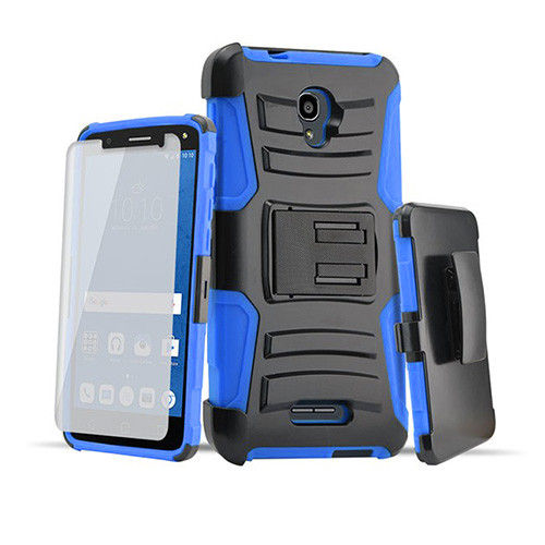Rugged Hybrid Case with Kickstand and Holster Combo for LG K20 Blue-Black