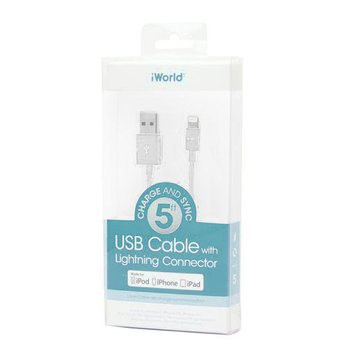 iWorld USB Lighting Cable MFI 5ft White
